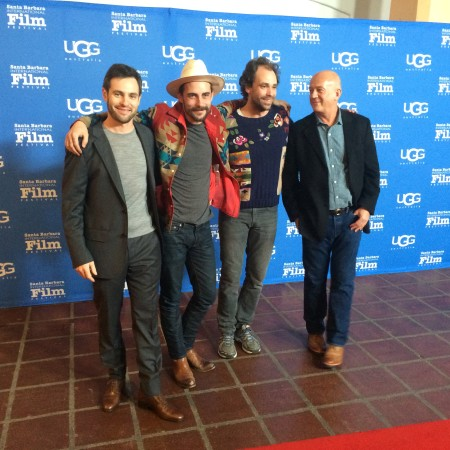 Big cheese moment. With (from left to right) director Wayne Price, Robert Ellis, Jonny Fritz, and producer Graham Leader.